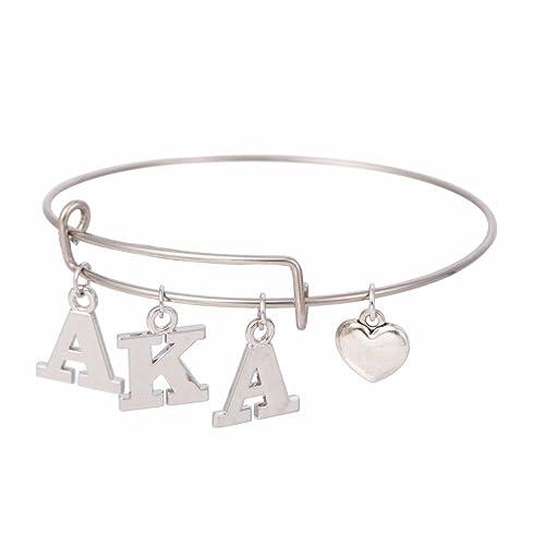 3b4653d9a8275 AKA Sorority Alpha Kappa Alpha Letter Charms Adjustable Love Bangle Jewelry