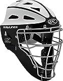 Rawlings Sporting Goods Adult Softball Protective Hockey Style Catcher's Helmet, Black/White