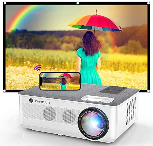 """1080P Projector, FANGOR 2021 WiFi Projector Bluetooth Assist, 7500L Film Projector 4K Video Assist, Dwelling Projector Appropriate with TV Stick, HDMI, USB, VGA, iOS/Android [120""""Screen Included]"""