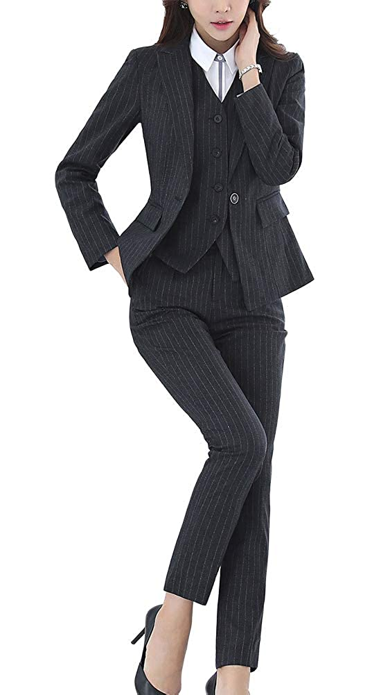 Black03 LISUEYNE Women's 2 Pieces Office Lady Blazer Business Set Women Suits for Work Skirt Pant and Jacket