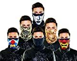 Seamless Outdoor Face/Ski Mask Bandana Breathable, Dust Proof. Great for Skiing, Snowboarding,Motorcycle,Bicycle,Camping,Hiking (6 PACK, Angry Clown, Army, Black Tears, Marine, Plain Black, Warchild)