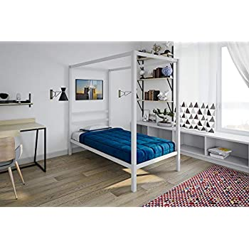 Amazon Com Dhp Modern Metal Canopy Bed White Metal