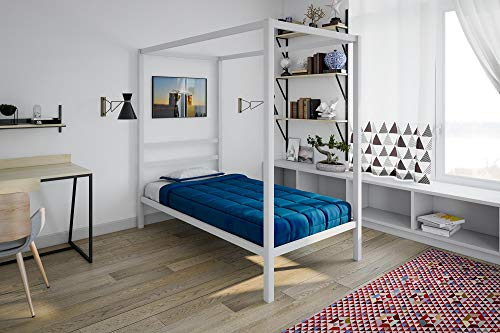 White Twin Canopy - DHP Modern Metal Canopy Bed, White Metal - Twin