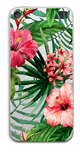 Shark Compatible Summer Aloha Tropical Floral Coconut Tree Bahama Leaves Ultra Slim Rubber Silicone TPU Cover Replacement for iPod Touch 5/6