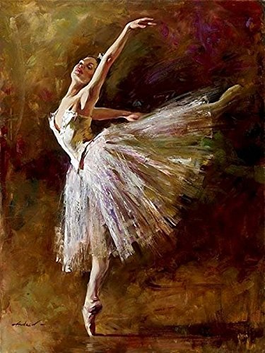 [WOODEN FRAMED] Diy Oil Painting Paint by Number Kit for Adults Kids - Ballet Queen 16x20 - Painting Ballet Oil