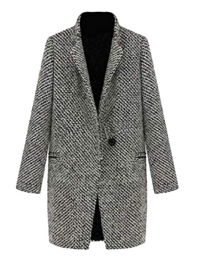 Etecredpow Women British One Button Overcoat Houndstooth Wool Blend Jacket Pea Coat Black White Medium