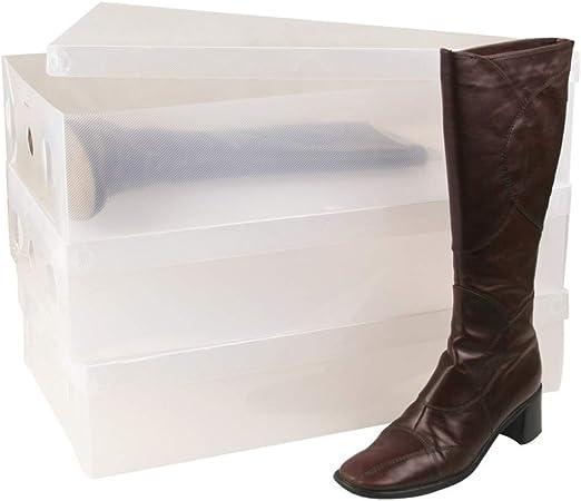 XZDXR Caja De Almacenamiento, 6X Unidades De Almacenamiento Transparentes Apilables Resistentes Resistentes De La Caja De Zapatos para Botas Altas hasta La Rodilla/Botines: Amazon.es: Hogar