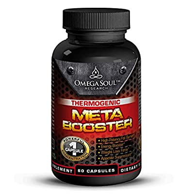 Omega Soul Thermogenic Super Meta Booster - Highly Effective Fat Burner Weight Loss Supplement - Promotes Energy - Can Be Used With Multiple Vitamin Mineral Combinations And Appetite Suppressants - Best Sports Nutrition Endurance and Energy Herbal Product