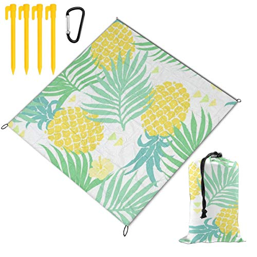 Tropical Watercolor Pineapple Palm Tree Picnic Blanket Mat, Waterproof Foldable Play Mats for Kids, Babies, Families - Protective Beach Blankets for Park, Camping, Yard, Lawn, Sand 78 x 57 inch
