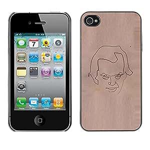 """For Apple iPhone 4 / 4S Case , Cara Bosquejo del papel de Brown Arte Lápiz"""" - Diseño Patrón Teléfono Caso Cubierta Case Bumper Duro Protección Case Cover Funda"""