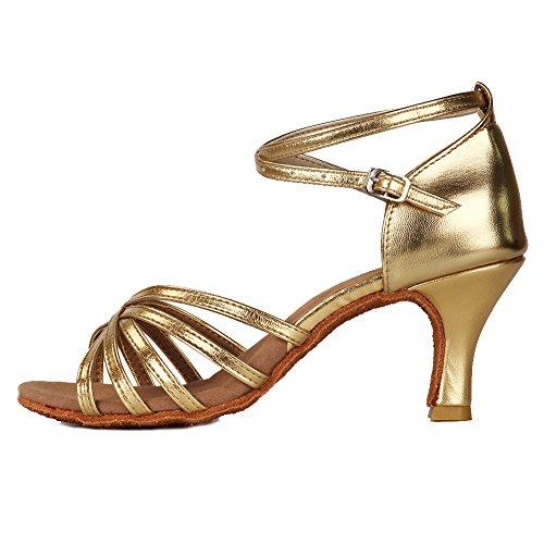 Roymall Women's Gold Satin Latin Dance Shoes,Model 213-7, 9 B(M) US 213 Apparel