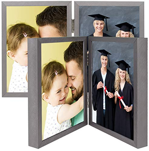 5x7 Grey Hinged Frame Set - Holds Two