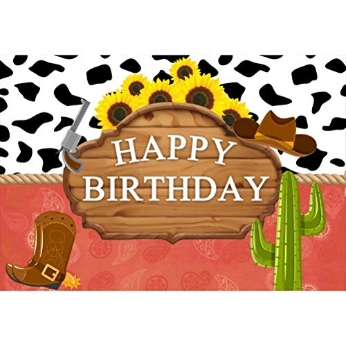 OFILA Cowboy Theme Birthday Backdrop Polyester Fabric 7x5ft Happy Birthday Photos Background Cowboy Hat Photos Rustic Sunflowers Shoots Adult Kids Birthday Party Decoration Studio Props -