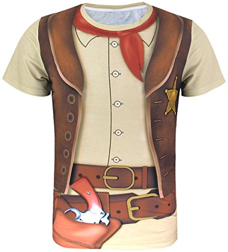 Funny World Men's Western Cowboy Costume T-Shirts (3XL)