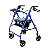 Aluminum Rollator Rolling Walker with Medical Curved Back Soft Seat Light Weight (Blue)