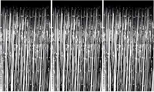 Foil Fringe Curtains - 3-Pack Metallic Black Foil Curtain, Metallic Tinsel Foil Fringe Curtain for Wedding Photo Backdrop, Birthday Party, Halloween Decoration, Photo-Booth Background, 8 x 3 Feet