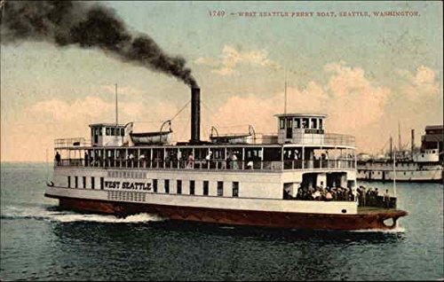 West Seattle Ferry Boat Seattle, Washington Original Vintage Postcard