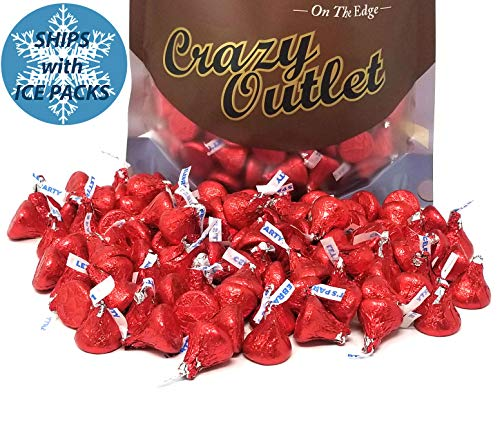 CrazyOutlet Pack - Hershey's Kisses Red Foils, Milk Chocolate Bulk Candy, 2 lbs ()