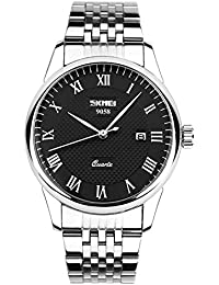 Mens Roman Numeral Stainless Steel Watch, Analog Quartz Unique Dress Wrist Watch Waterproof Business Casual, Key...
