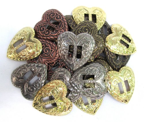 Conchos Western Heart Shape; Mixed Finishes, Slotted; 24 Pieces
