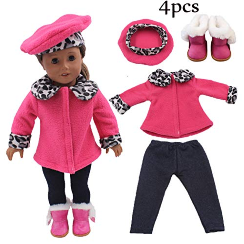 LtrottedJ Fashion Clothes Suit Leopard Print for 18 Inch American Girl Doll Clothes Set (Hot Pink) ()