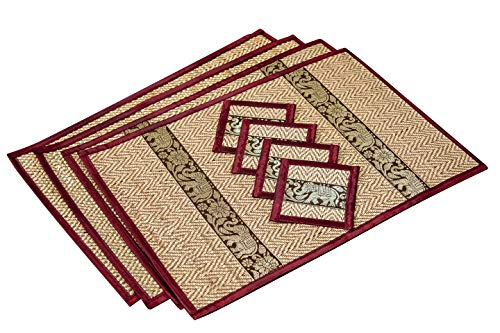 Eco Friendly Handmade, Heat Resistant, Easy to wipe clean, Placemat Coaster 4 sets, 2 sizes Large Medium, Sustainable Kitchen craft Dining table mat natural reed material artisan (Large, Burgundy)