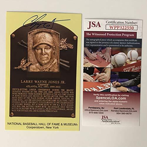 Autographed/Signed Chipper Jones HOF Hall Of Fame Baseball Plaque Postcard JSA COA from Phanatic Sports Memorabilia