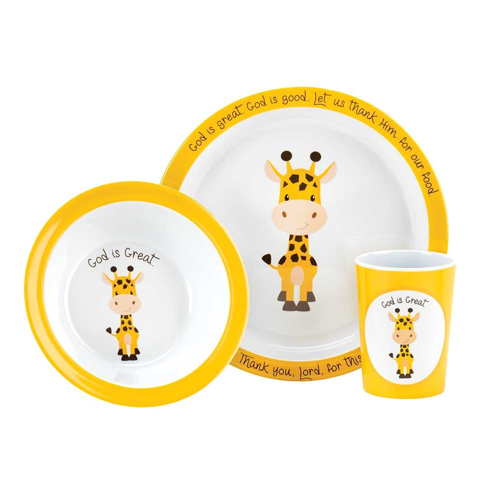 Cute Giraffe God Is Great Yellow 9.5 x 9 Melamine Plate, Bowl and Cup Set of 3