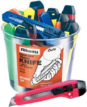 Knife Bucket (Allway K7-25 18mm 7PT Snap Off Knife Bucket (25 Pack))