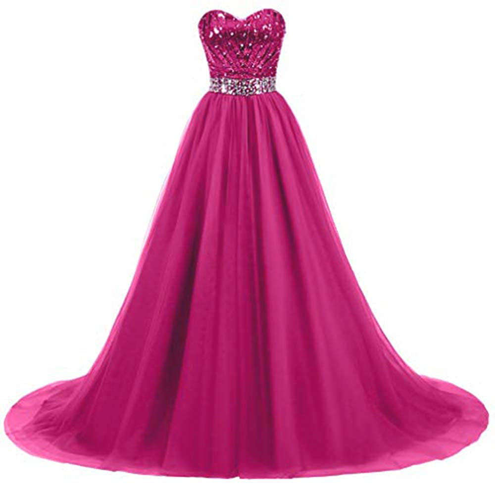 Hot Pink Ri Yun Women's Sweetheart Sequin Ball Gown Prom Dresses Long Strapless ALine Formal Evening Party Dresses 2019