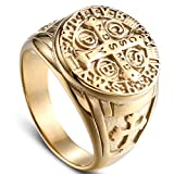 JAJAFOOK Men Gold Plated Stainless Steel Catholic