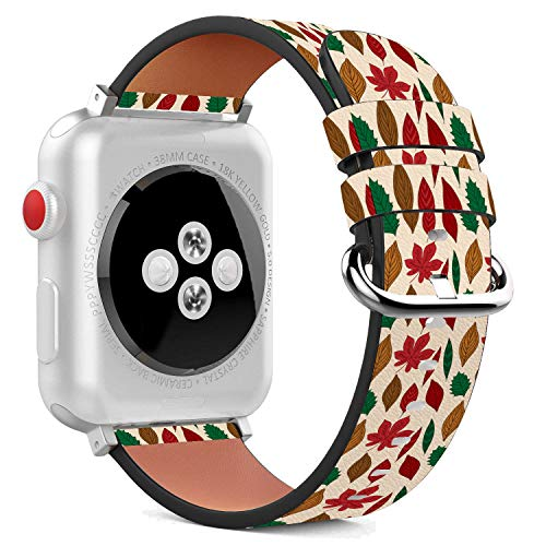 Stylized Leaves - Compatible with Apple Watch - 38mm Leather Wristband Bracelet with Stainless Steel Clasp and Adapters - Stylized Autumn Leaves