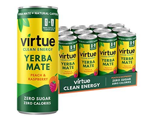 VIRTUE Yerba Mate – Natural Energy Drink – Zero Sugar, Zero Calories (Peach & Raspberry, 12 Pack)