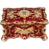 Feyarl Vintage Rectangle Trinket Box Jewelry Box Ornate Antique Finish Engraved with Two- Layer Organizer Box for Exquisite Gift (Red)