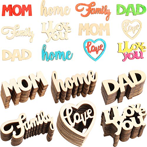 180 Pieces Mother's Day Wooden Tag Father's Day Wooden Embellishment Hanging Ornaments for Party Festival Home Decoration, 6 Styles -