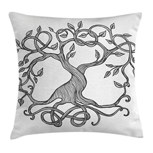 Ambesonne Celtic Throw Pillow Cushion Cover, Figure of A Single Celtic Tree of Life with Swirly Long Branches and Roots, Decorative Square Accent Pillow Case, 18 X 18 Inches, Charcoal Grey White (Images Of Trees With Roots And Branches)