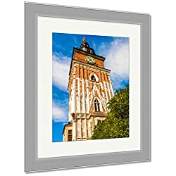 Ashley Framed Prints Beautiful High Gothic Town Hall Tower With Clock In The Main Market Square In, Wall Art Home Decoration, Color, 40x34 (frame size), Silver Frame, AG5953717
