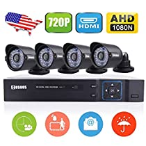 COSOOS 8 Channel 1080N AHD DVR with 4pcs Weatherproof Indoor/Outdoor 720P Video Security Camera System, 5-in-1 HVR (1080N AHD+960H Analog+1080P NVR/TVI/CVI), 36 LEDs 100ft IR Distance (NO Hard Drive)