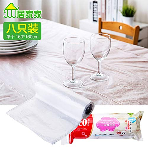 RubyShopUU Plastic Tablecloth Thick Disposable Table Cloth 8 Loaded Home Water Off Point Translucent Wallpaper (Covers Chair Kohls)