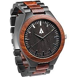 Treehut Redwood Men's Redwood Wooden Black Stainless Steel Watch – Miyota Qua...