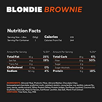 New KetoBrownie Blondie Brownies, Deliciously Baked Soft Chewy Keto Brownies. Healthy Fats, Low Net-Carb Keto Bars. 3g Net Carbs, 9g Protein, 2g Sugar, Coconut Oil MCTs, 12-Count