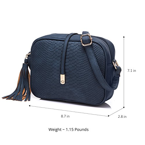 Blue and for Tassel adjustable Women strap Crossbody Dark Realer Bags with YZx1qwTn6v