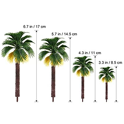 TOYANDONA 12pcs Model Scenery Landscape Rainforest Palm Trees Park Street Diorama Scenery Layout Ornaments (The Color of Root is Random): Toys & Games