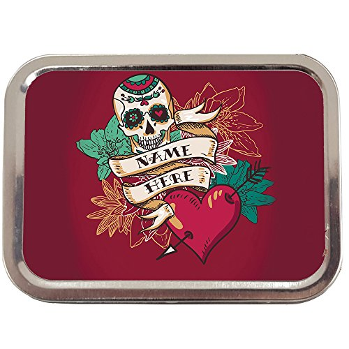 Personalised Red Heart & Skull Tattoo Sh207 2oz Tobacco Tin | Baccy Storage | Pill Box | Cigarette Rolling Stash Can