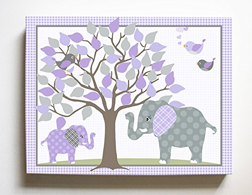 Whimsical Elephant & Lovebirds Garden - Checkerboard Stretched Canvas Nursery Decor - Wall Art That Makes a Memorable Baby Gift Idea 100% Wooden Frame Construction - Ready to Hang 12X16 ()