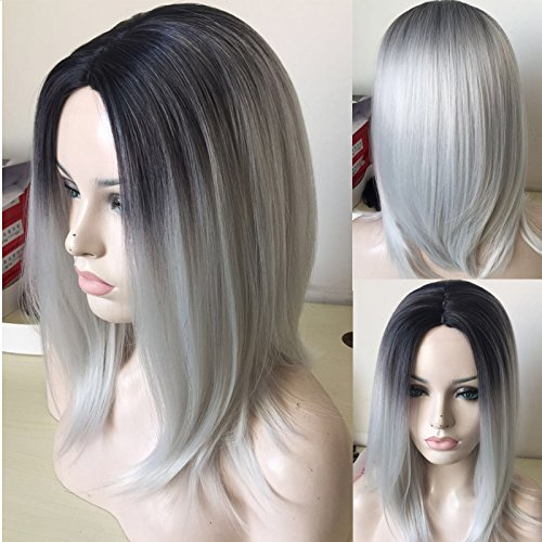 QianBaiHui Gray Bob Wigs for Women - Medium Straight Black Rooted Ombre Grey Wigs Heat Resistant Synthetic Hair Wigs (Black Ombre Silver) LDS028