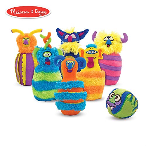 Melissa & Doug Monster Bowling Game, Plush 6-Pin Bowling Game with Carrying Case, Weighted Bottoms, 7 Pieces, 9