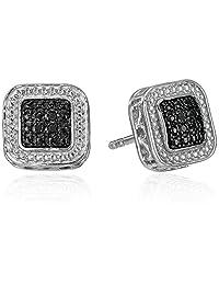 Sterling Silver Black Diamond Square Stud Earrings