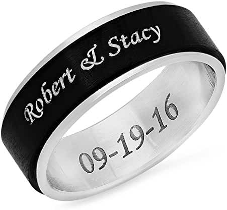 Free Engraving - Stainless Steel Two Tone Spinner Ring