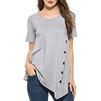 Sweetnight  Blusa casual de cuello abierto y manga corta con corte asimétrico, plisada, talla grande para mujer
